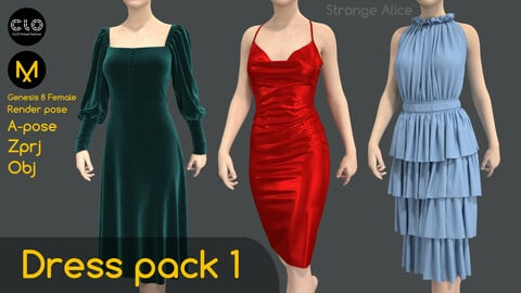 Dress pack 1. Clo3d, Marvelous Designer projects.