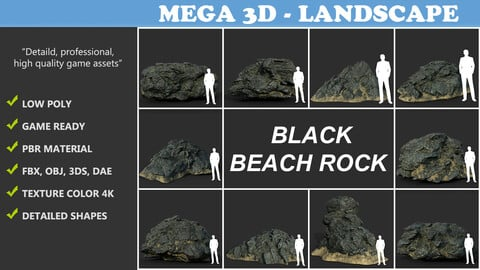 Low poly Black Beach Rock Collection 210210