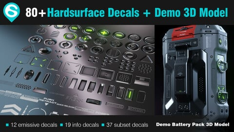 80+ Decal Pack + Demo 3D Model - DECALmachine 2.1 Ready