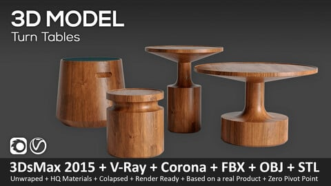 Turn Tables - 3D-Model (3ds Max 2015 + Vray + Corona + FBX + STL + Obj)