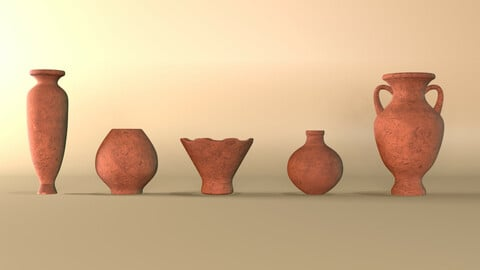 Clay jugs - five items ready for subdivide Part 6