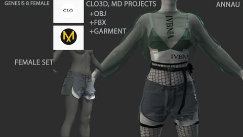 GENESIS 8 FEMALE SET: CLO3D, MARVELOUS DESIGNER PROJECTS  +OBJ +garments +FBX