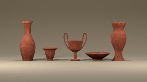 Clay jugs - five items ready for subdivide Part 8