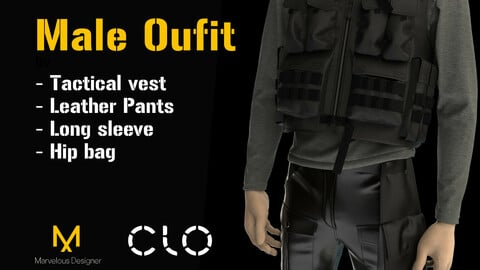 Male suite for standart Clo 3D Avatar Male_V1. MD and CLO 3D project file + OBJ file zipped