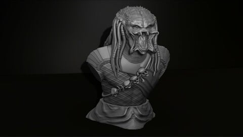 Predator Bust Model File STL for 3D Printer Figurine 3D Printing Assembly