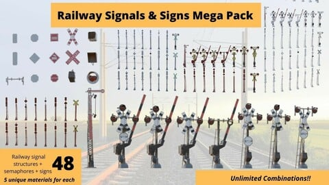 48 Pcs Railway Signals and Signs Mega Pack Low Poly VR Ready Low-poly 3D model