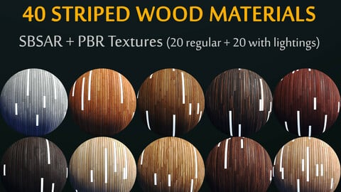 SBSAR / 20 Variation / Striped Wood + Light Panels / PBR