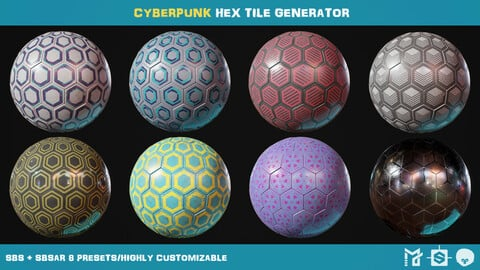 Cyberpunk hex tile generator