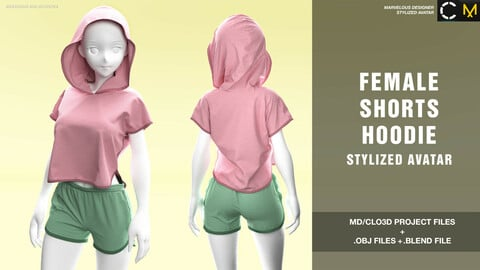 Female shorts and hoodie. Stylised avatar MD/Clo3d project + OBJ + .BLEND file