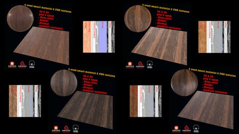 4 Wood Smart materials & PBR Textures