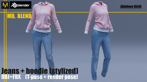 Jeans + hoodie. Clo3D. MD, Blender projects. OBJ+FBX  T-pose+render file