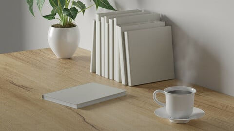 3d render Working desk with white background. blank book, green plant and coffee cup on wood table. minimal workspace. simple wall interior design concept template.