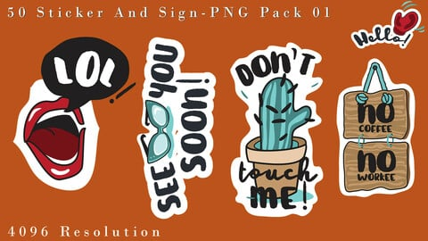 Vol . 10 - 50 Sticker and Sign PNG Pack 01