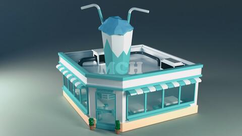 Coffee Shop Building low poly 3d model