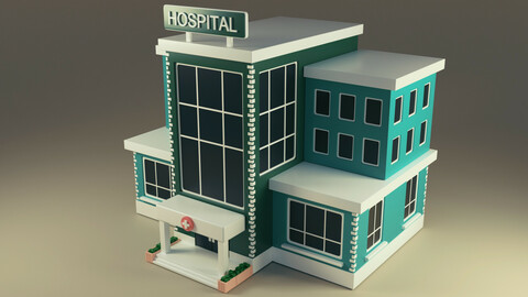 Hospital Building low poly 3d model
