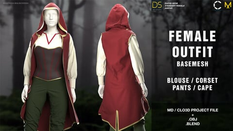 Female outfit basemesh (blouse/corset/cape/pants) MD/Clo3d project + OBJ + .BLEND file