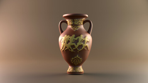 Clay jug with antique painting Highpoly jug 3D model