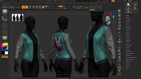 Stylized high poly women's jacket for video games