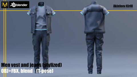 Men vest and jeans