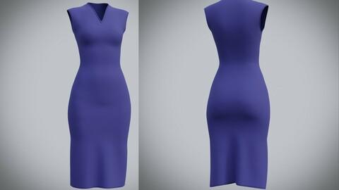 sleeveless dress - 3D female  dress