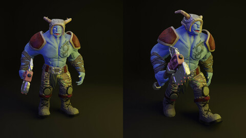 Monster with a hammer 3d low poly model