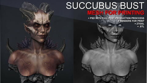 Succubus Bust - Sculpture for printing (STL), +Ztool, +Renders