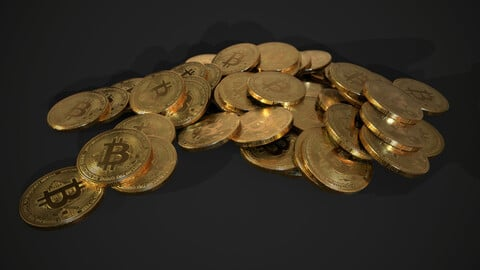 Bitcoin tech - crypto currency - 3 piles - 1 stack - 1 coin Low-poly 3D model