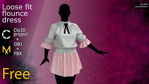 Clo3D project, Marvelous Designer. Free flounce dress.