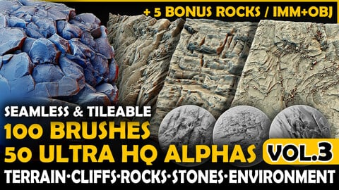 Ultra HQ Terrain / Rock Seamless Sculpt Zbrush brushes + Alphas (Blender, Substance, etc.) Vol.3