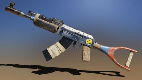 Post apocalyptic Stylized Rifle GameReady