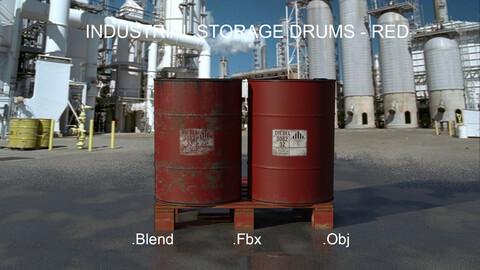 Industrial Oil Storage Drums - Red