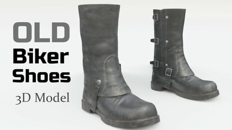 Old biker shoes - 3D Model