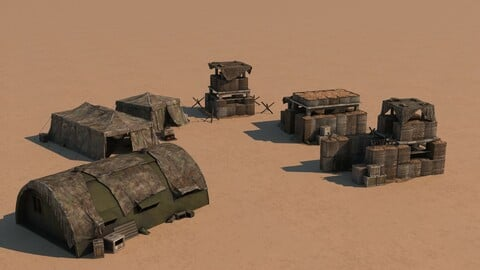 Collection of 3D Military airfield