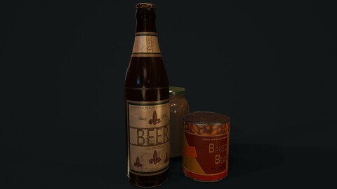 Beer Bottle and Baked Beans - PBR Model