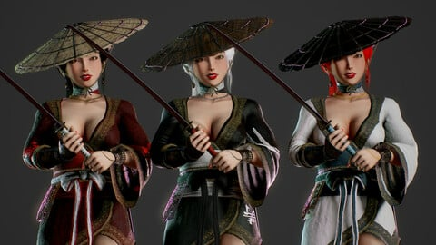 Samurai Female - Game Ready Low-poly 3D model