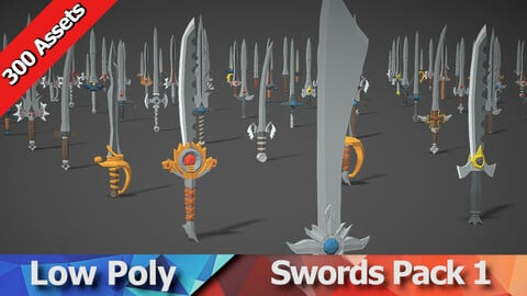 Swords Pack 1 - 300 Low Poly Weapons