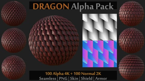 100 Alpha and Normal for Brush and Sculpt on Skin, Shield, Armor (Zbrush, Blender, Painter...)