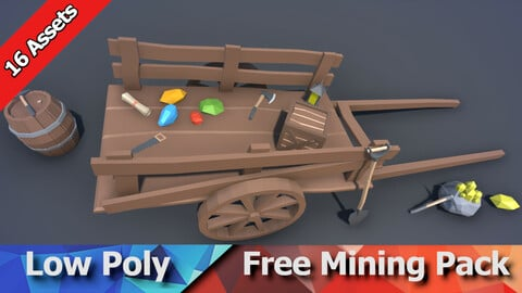 Free Mining Pack - Low Poly Ores, Gems, Tools & Props
