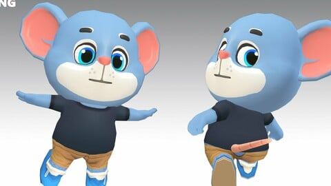 Mouse Rat Rodent Blue Animated Rigged