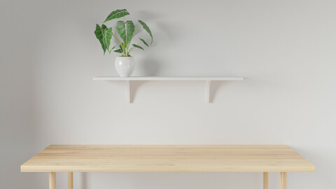3d render Working desk and shelf with white background. minimal workspace. wall concept template.