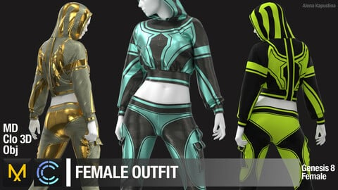 Female outfit / Marvelous Designer / Clo 3D project + obj