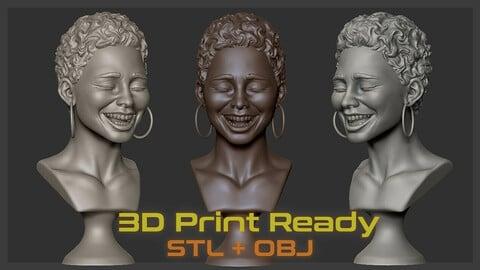 Happiness _ female head (3D print ready)