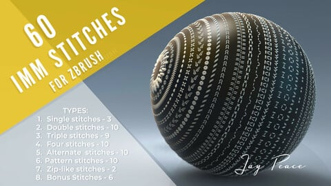 60 IMM stitch brushes for ZBrush