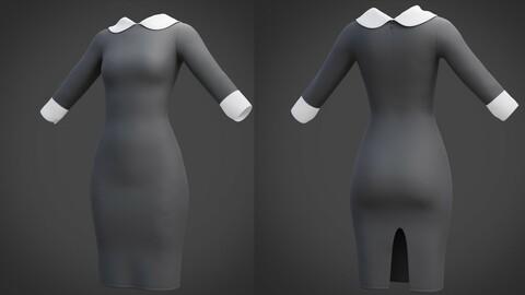 Female Collar dress - 3D model