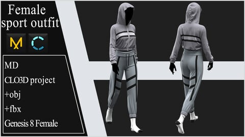 Female Sport Outfit. Clo 3D / Marvelous Designer project +obj +fbx