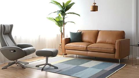 Baum Natural Cotton Skin Leather 3-Person Sofa
