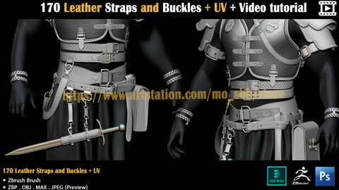 170 Leather Straps and Buckles + UV + Video tutorial