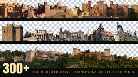 300+ Old Castle / Buildings reference Pack + Nature + Bonus [Transparent BG] Perfect For Mattepainting And Photobash