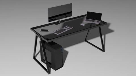 Set of Devices for work Low-poly