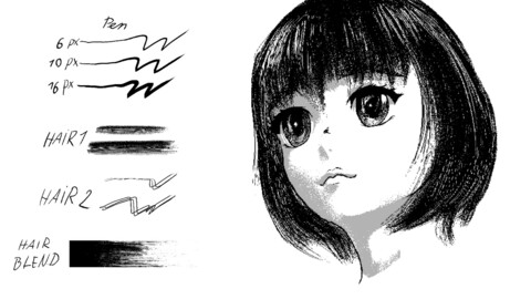 Manga INK  [ Easy Hair Brush + Pen ] [ Clip Studio ]